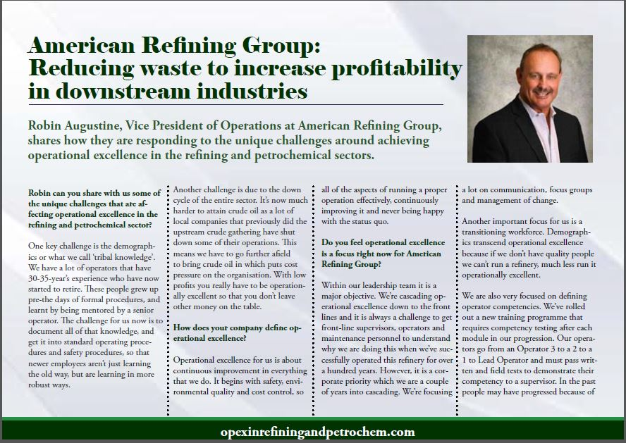 American Refining Group: Reducing waste to increase profitability in downstream industries