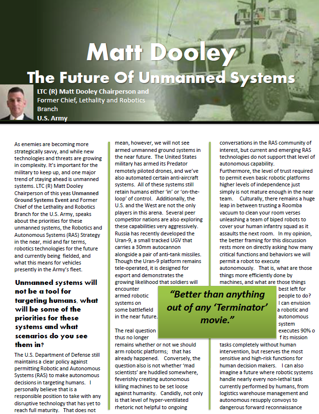 The Future of Unmanned Systems with LTC (R) Matt Dooley