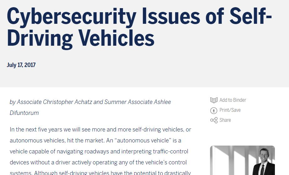 Autonomous Vehicles: Cyber Security Issues