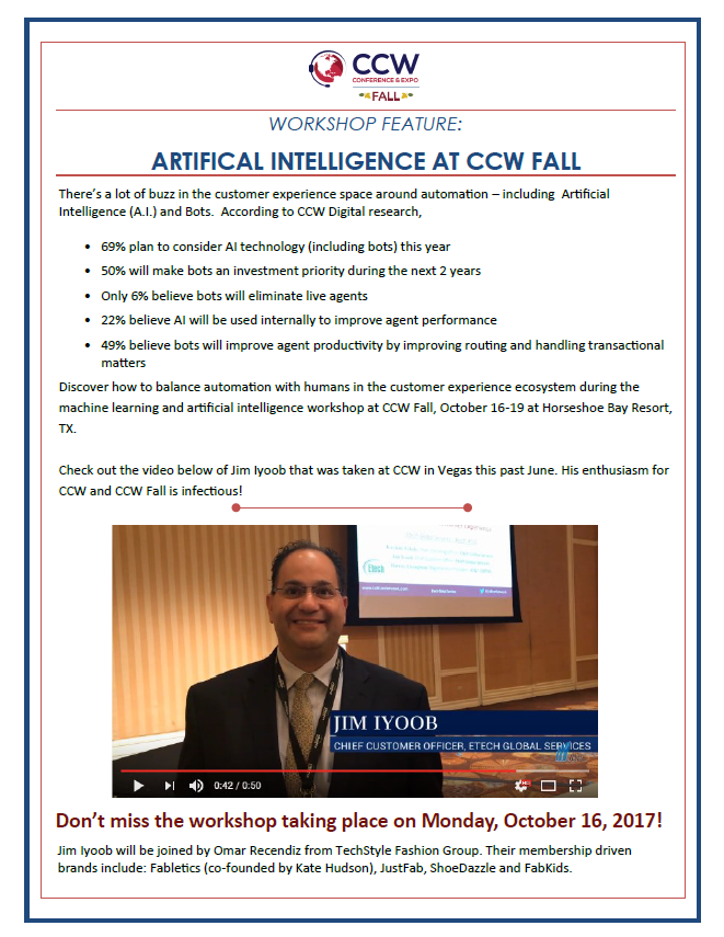 Workshop Feature: Artificial Intelligence at CCW Fall