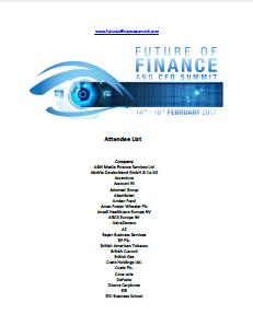 Future of Finance Summit 2017 Attendee List to date