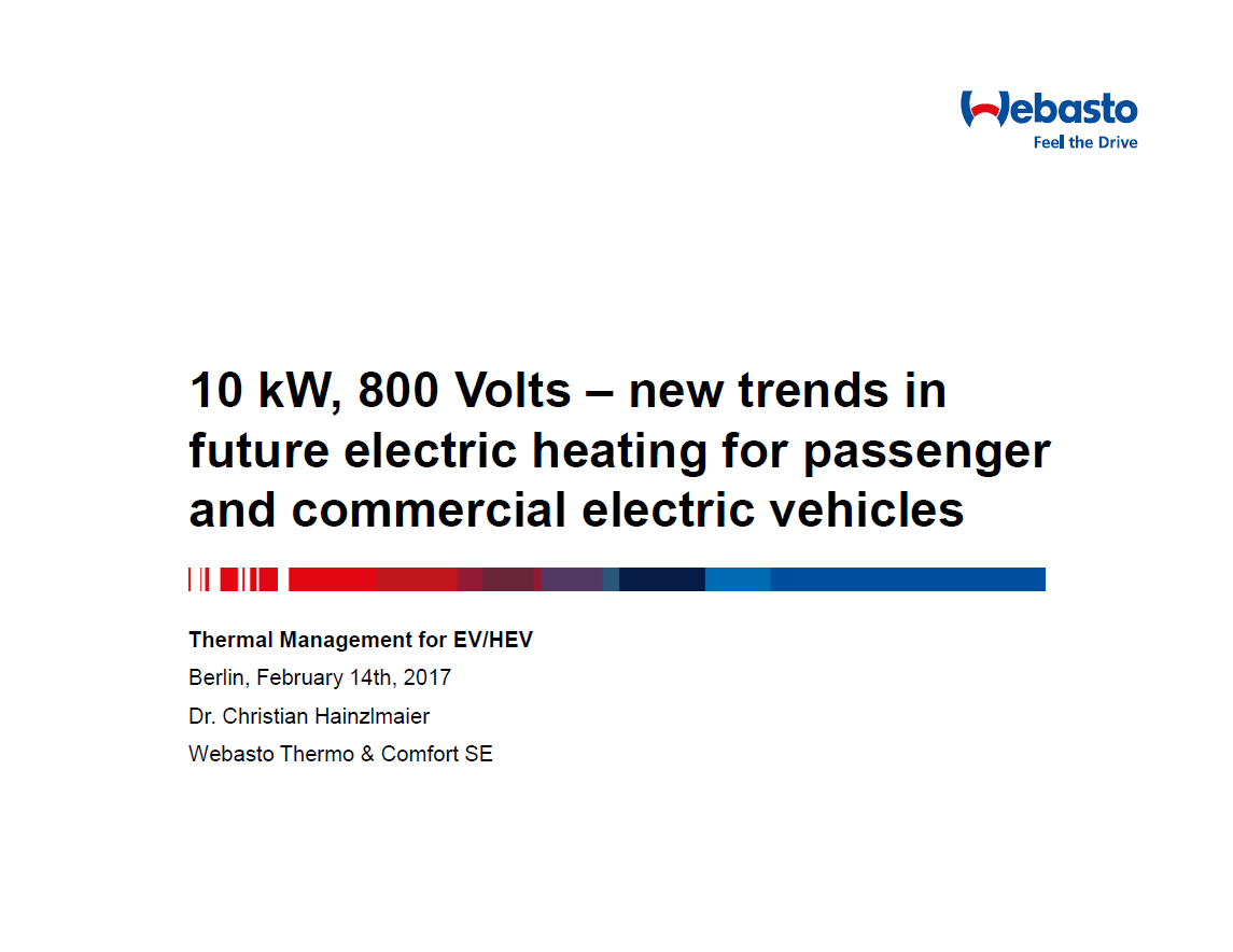 Webasto Presentation on Perspectives of 800 Volts Technology Implementation for Electric Heating