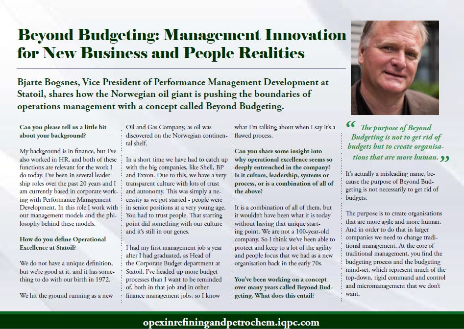 Beyond Budgeting: Management Innovation for New Business and People Realities