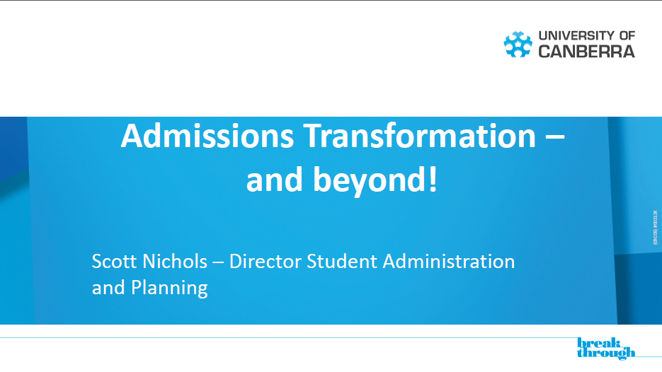 University of Canberra's Admissions Transformation to improve the Student Journey