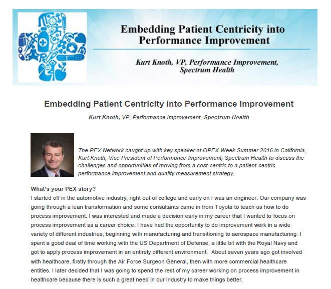 Embedding Patient Centricity into Performance Improvement