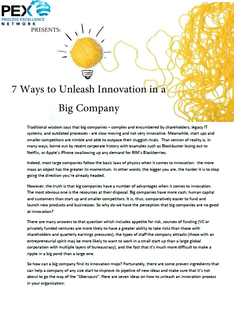 7 Ways to Unleash Innovation in a Big Company