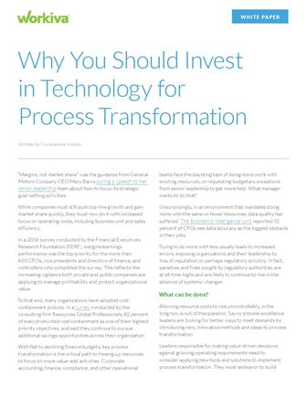 Why You Should Invest in Technology for Process Transformation