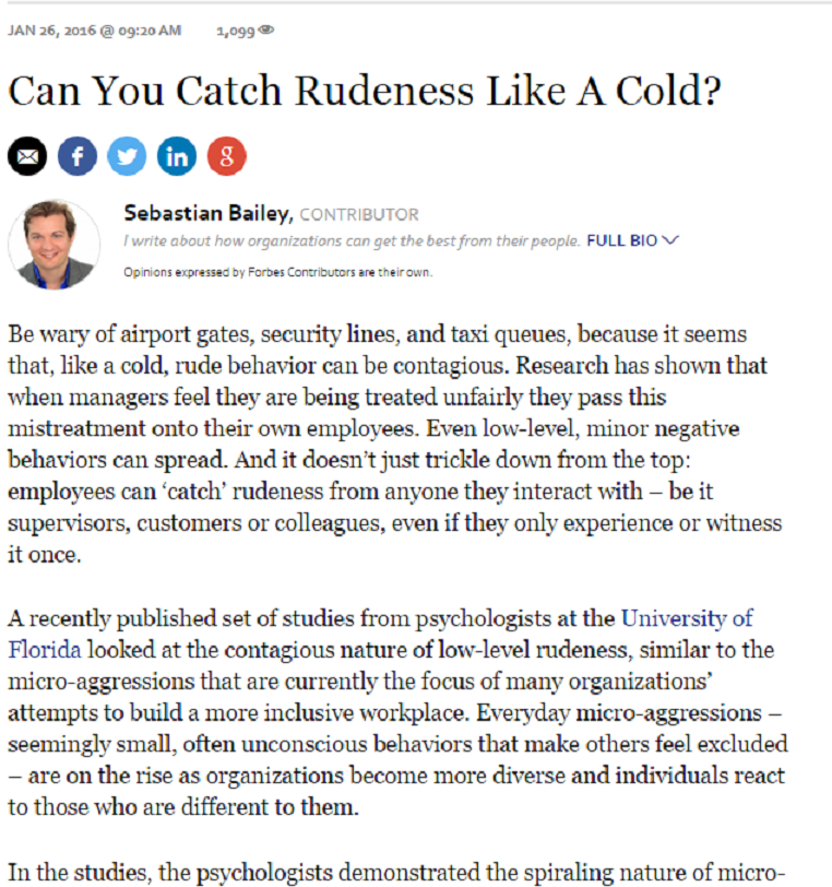 Can You Catch Rudeness Like A Cold?