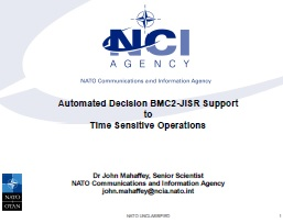 Automated Decision BMC2-JISR Support to Time Sensitive Operations