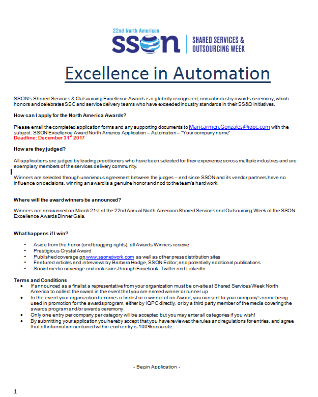 Excellence In Automation Award Application
