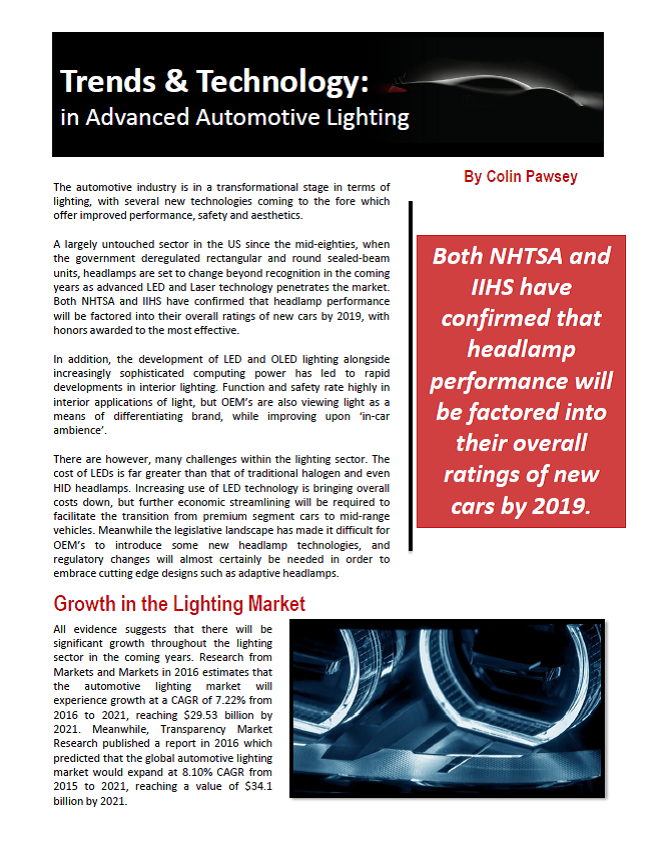 Trends & Technology In Advanced Automotive Lighting