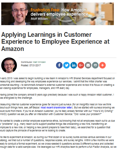 Applying Learnings in Customer Experience to Employee Experience at Amazon