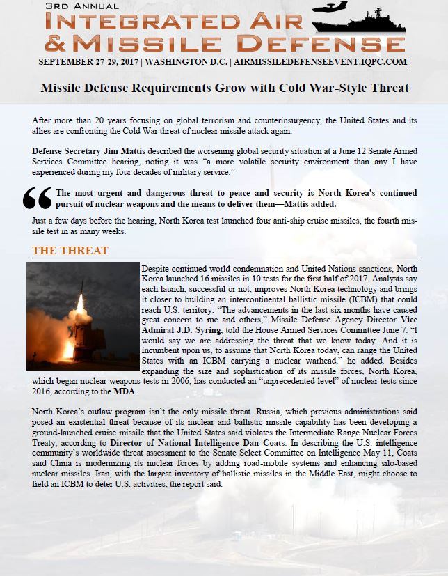 Missile Defense Requirements Grow with Cold War-Style Threat | Integrated Air and Missile Defense 2017