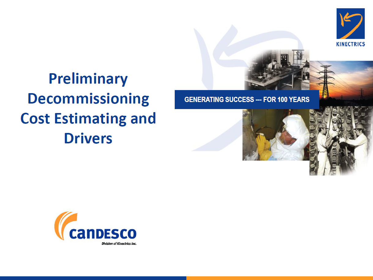 Presentation on Preliminary Decommissioning Cost Estimating and Drivers