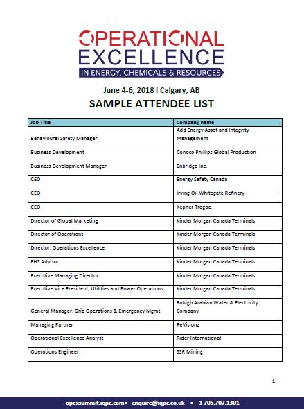 Opex Calgary - 2018 Attendee List