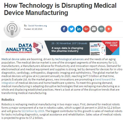 How Technology is Disrupting Medical Device Manufacturing