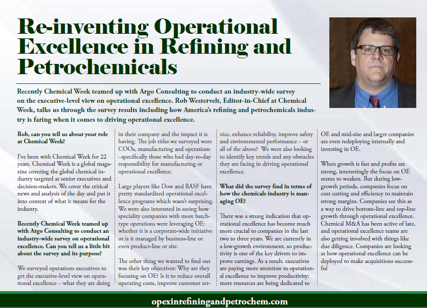 Re-inventing Operational Excellence in Refining and Petrochemicals