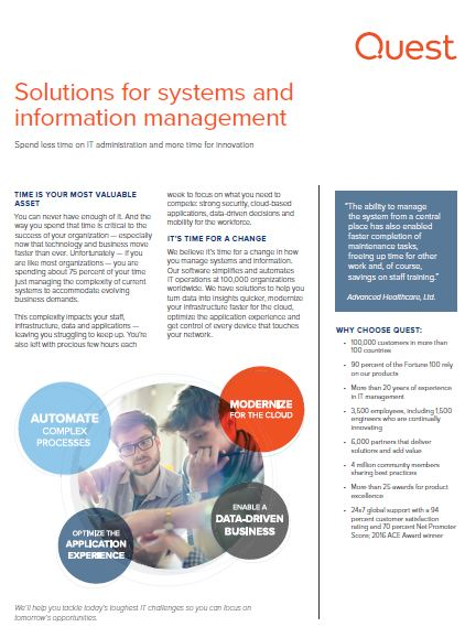 Solutions for systems and information management