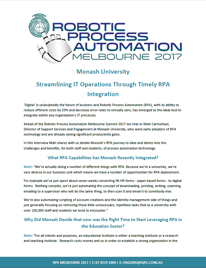 Monash Uni: Streamlining IT Operations Through Timely RPA Integration