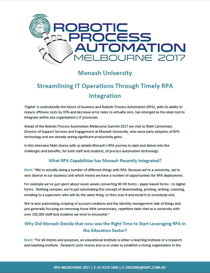 Monash Uni: Streamlining IT Operations Through Timely RPA Integration