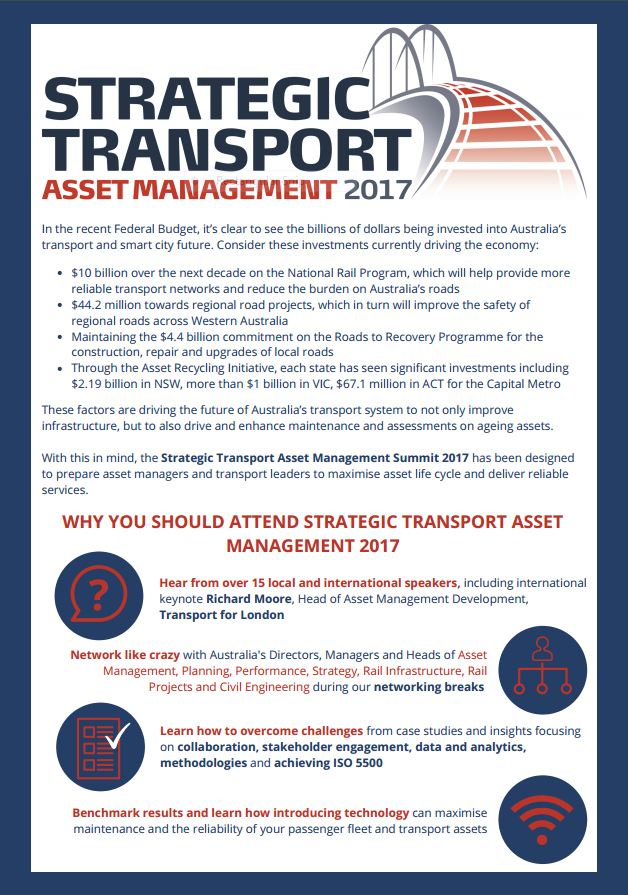 Why You Should Attend Strategic Transport Asset Management 2017