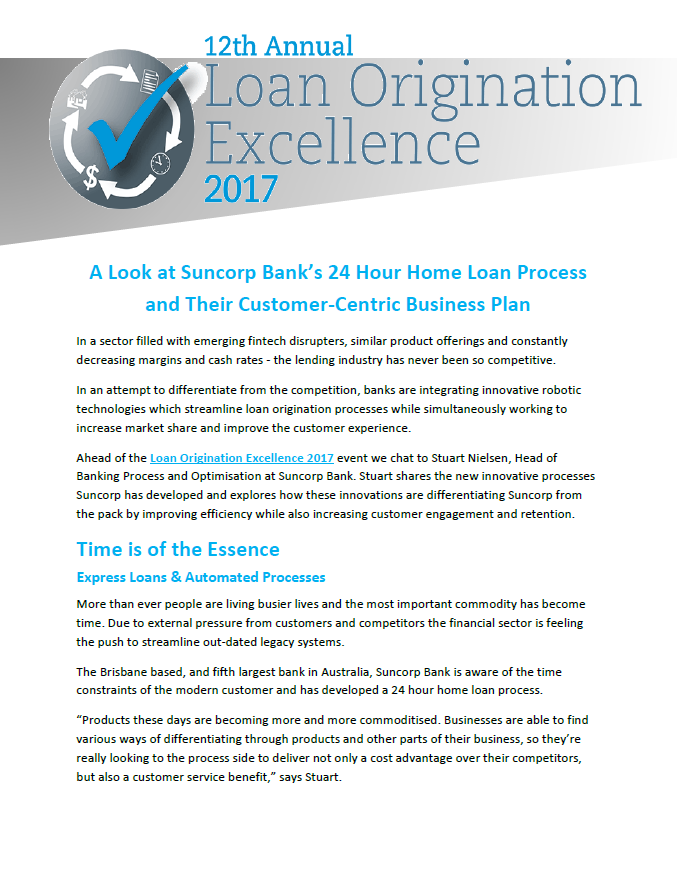 Look at Suncorp Bank's 24 Hour Home Loan Process and Their Customer-Centric Business Plan