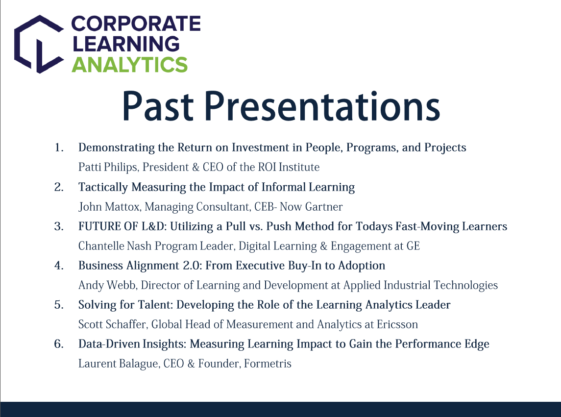 Corporate Learning Analytics Past Presentations