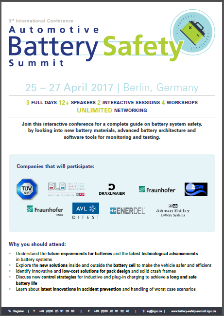 Automotive Battery Safety Agenda 2017