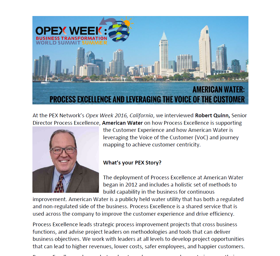 American Water: Process Excellence and Leveraging the Voice of the Customer