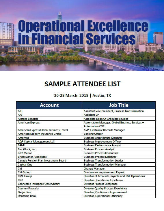 OPEX in Financial Services 2018 Attendee List