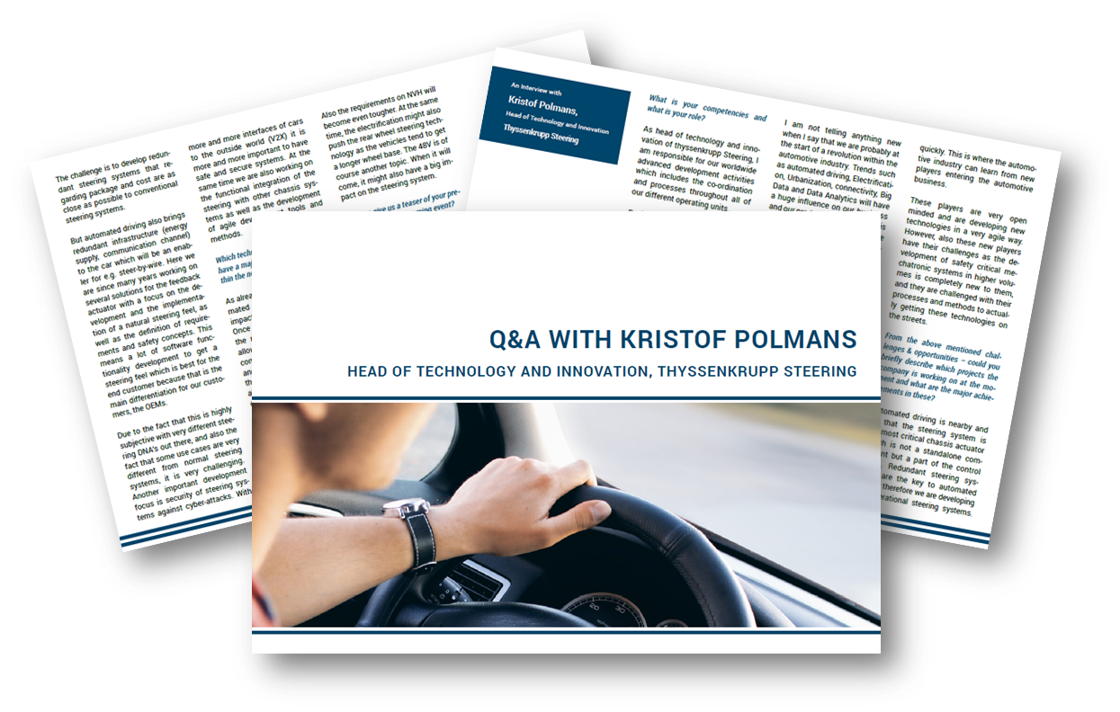 Steering Systems: Exclusive interview with Kristof Polmans from ThyssenKrupp Steering