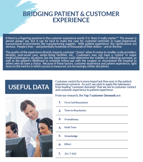 Bridging Patient & Customer Experience