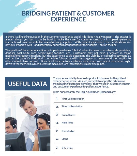 Bridging Patient & Customer Experience