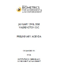 Biometrics for Government & Law Enforcement 2018 Draft Agenda