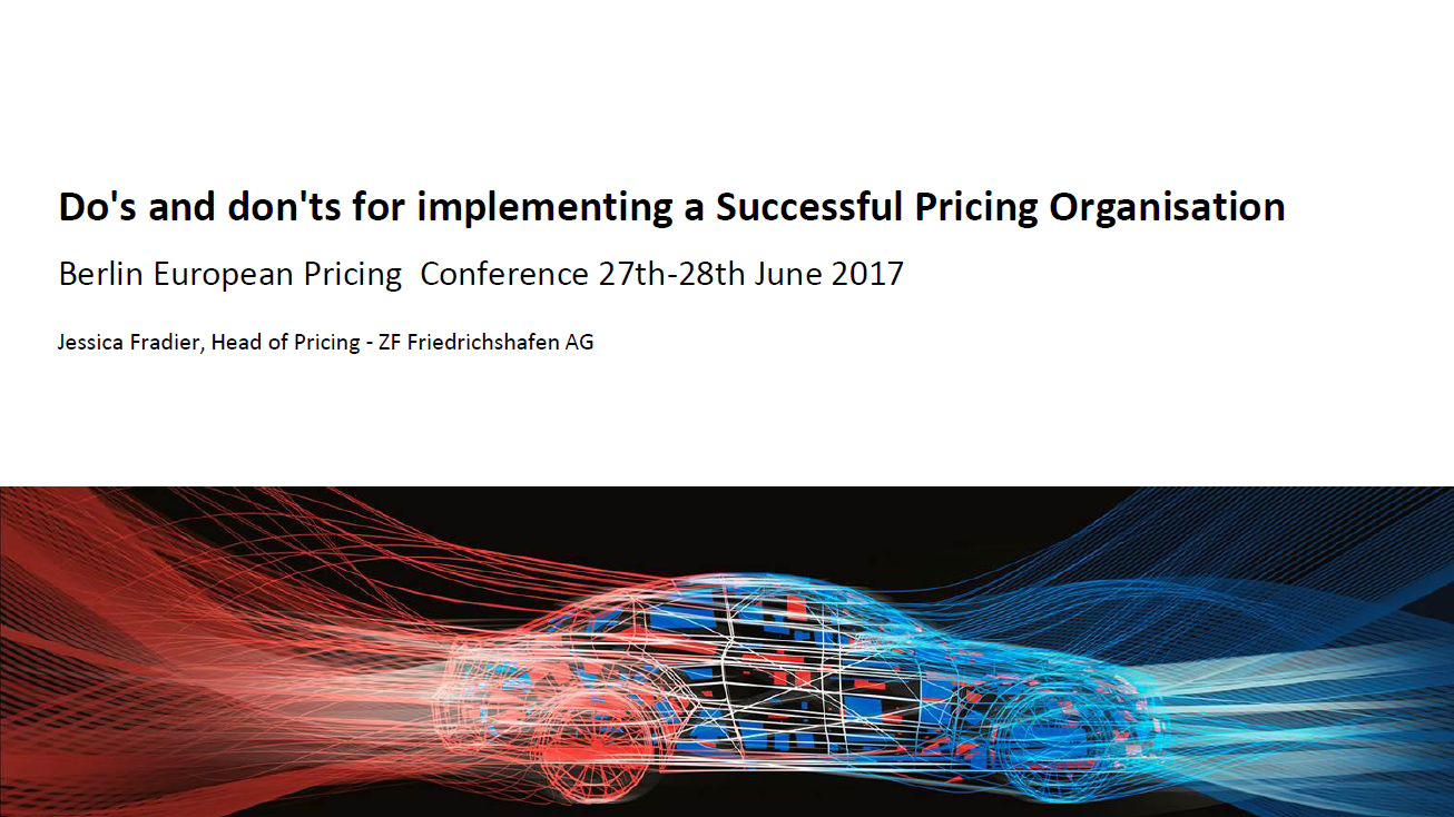 Presentation on the do's and don'ts for implementing a successful pricing organisation