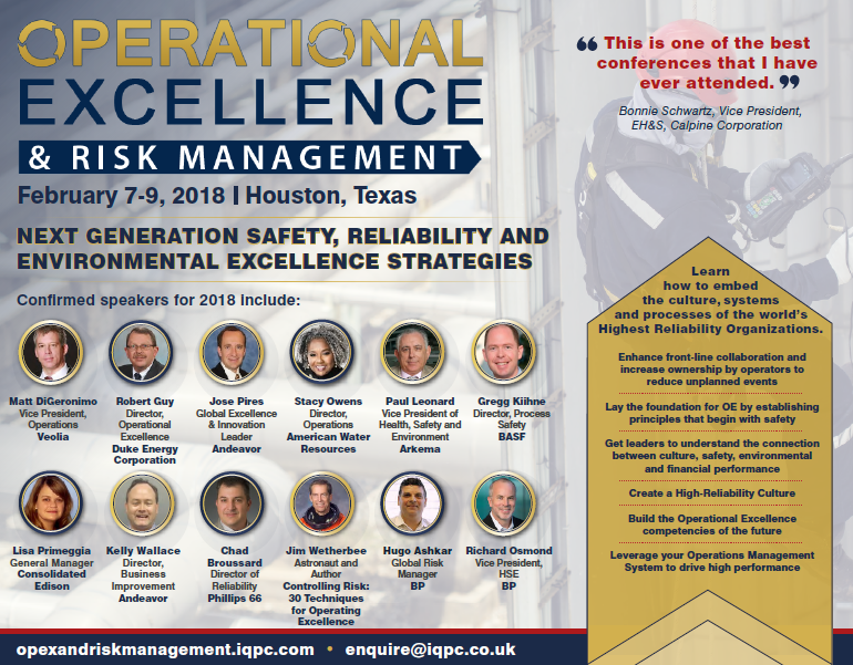Operational Excellence & Risk Management - 2018 Agenda