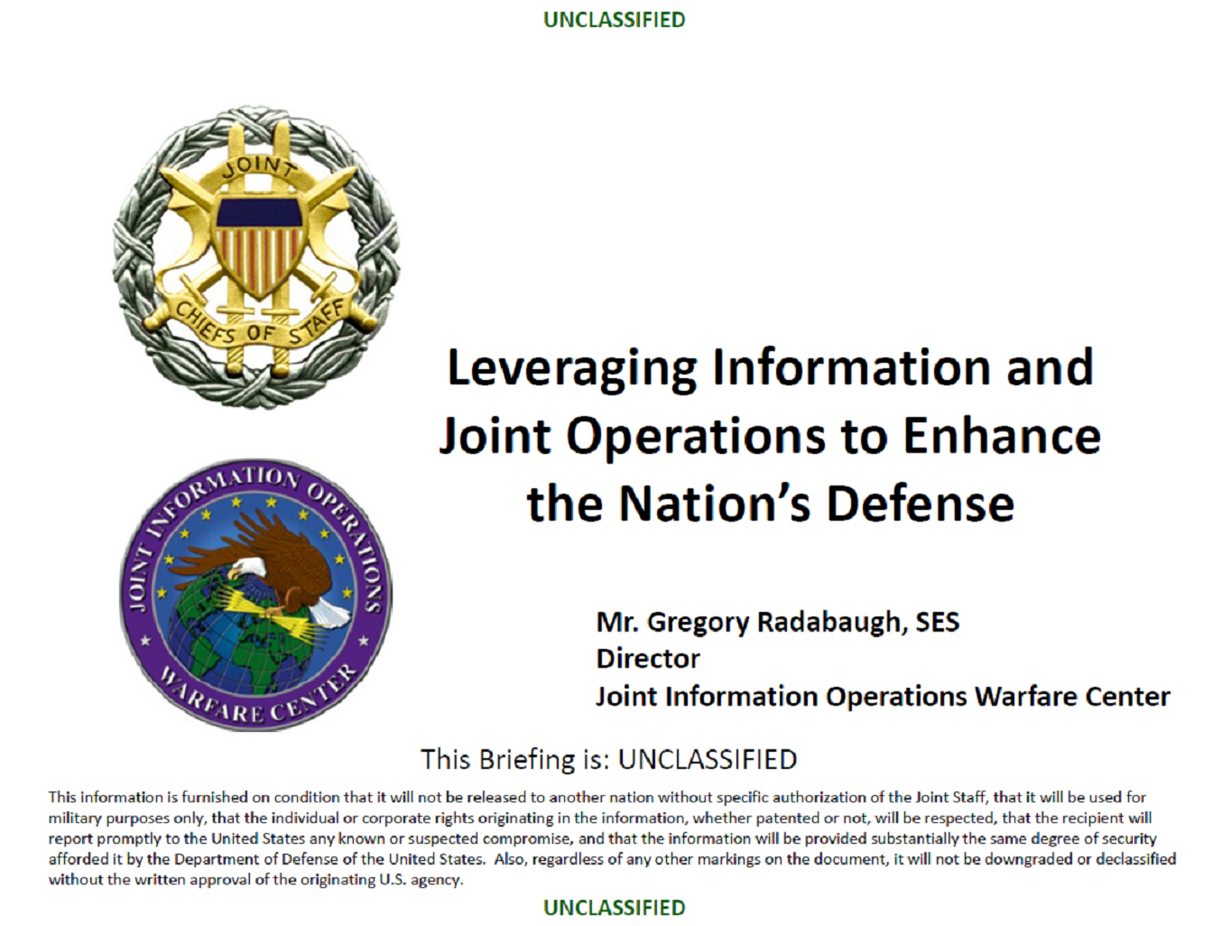 Leveraging Information and Joint Operations to Enhance the Nation's Defense
