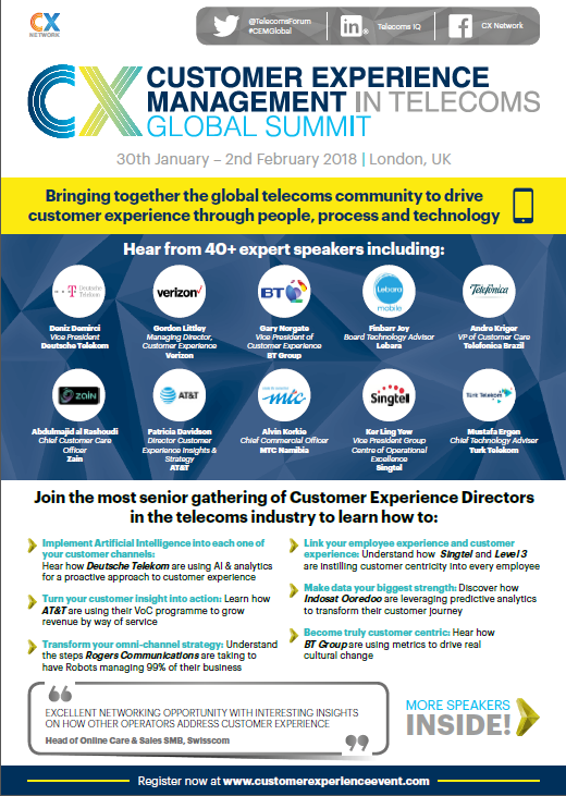 CEM in Telecoms Global Summit Agenda 2018