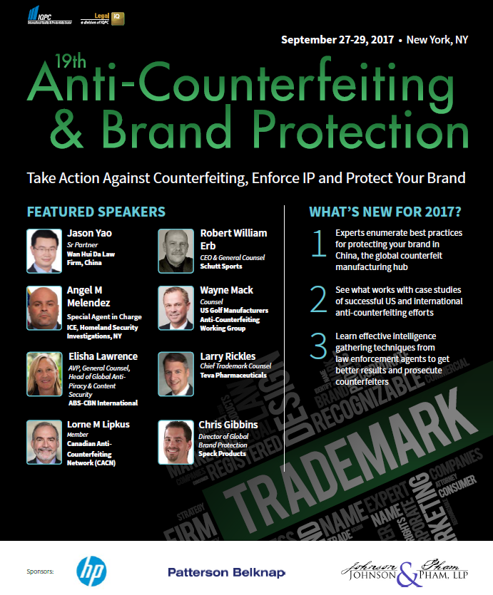 Anti-Counterfeiting and Brand Protection Fall 2017