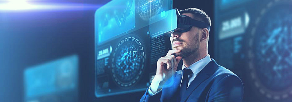 HR professional using disruptive technology like VR to review his data analytics