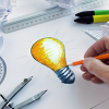 Innovation with yellow light bulb