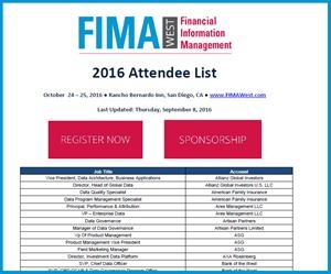 FIMA West 2016 Preliminary Attendee List