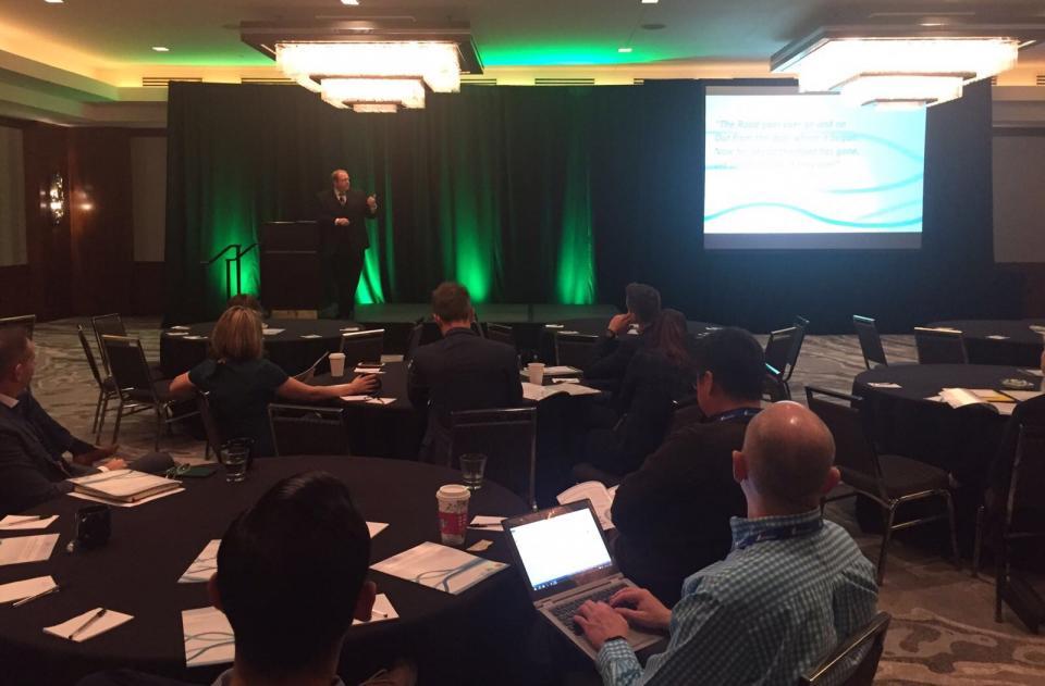 Mason Stevenson presenting at HR Tech Exchange