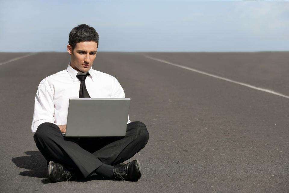 business man doing computer work