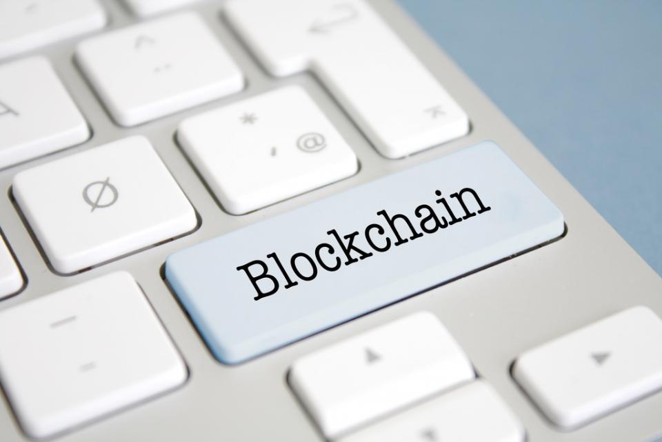 Blockchain written on a keyboard