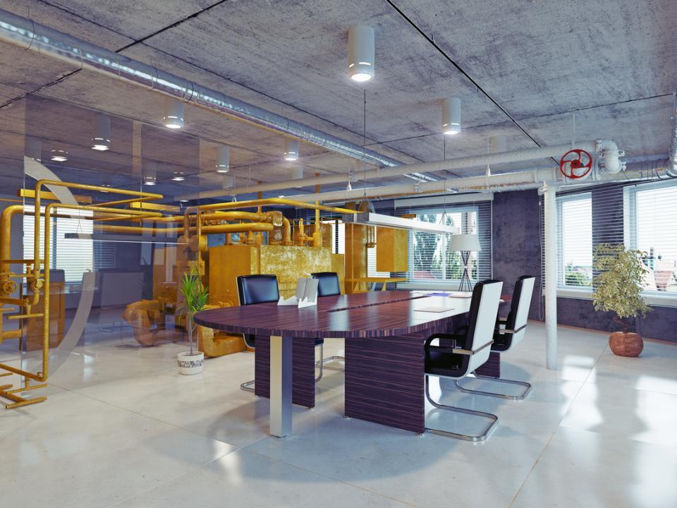 modern loft office interior 3d design concept