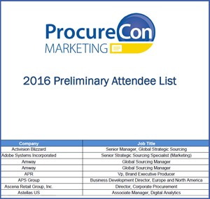 ProcureCon Marketing 2016 Preliminary Attendee List