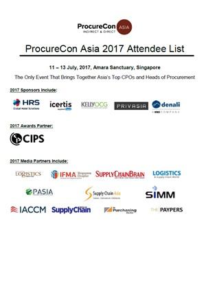 ProcureCon Asia 2017 Attendee List