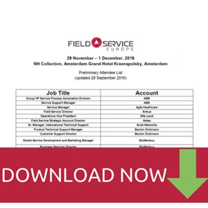 Field Service Europe 2016 Attendee List