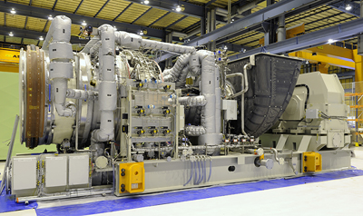 The picture shows the Siemens gas turbine SGT-800